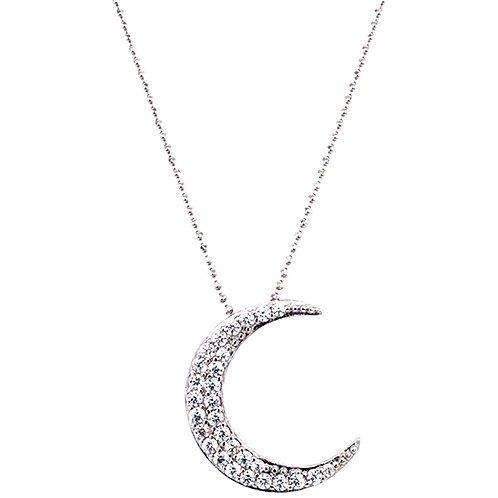 Sterling Silver Cubic Zirconia Moon Necklace 143512