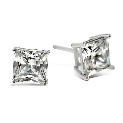 Bitter Sweet Sterling Silver Cubic Zirconia Square 8mm Studs 001472