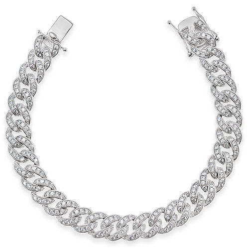 Bitter Sweet Sterling Silver Cubic Zirconia Cuban Bracelet 142560