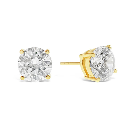 Bitter Sweet Gold Plated Sterling Silver Cubic Zirconia 8 Hearts 8 Arrows 9mm Studs 143347