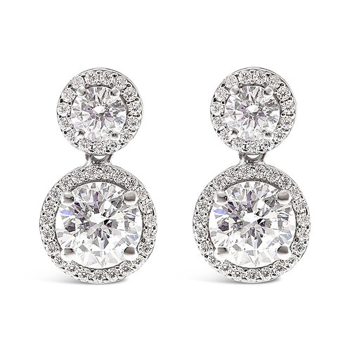 Sterling Silver Cubic Zirconia Round Earrings 132836