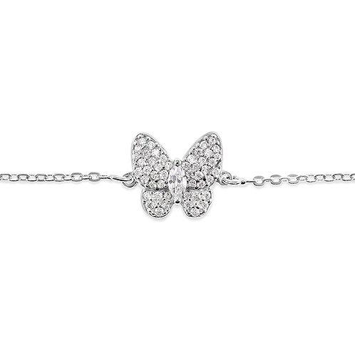 Sterling Silver Cubic Zirconia Butterfly Bracelet 141841