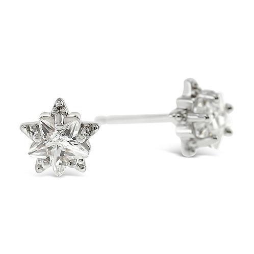 Sterling Silver Cubic Zirconia Star Earrings 141758