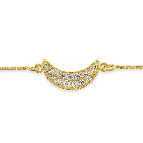 Bitter Sweet Gold Plated Sterling Silver Cubic Zirconia Moon Bracelet 141830
