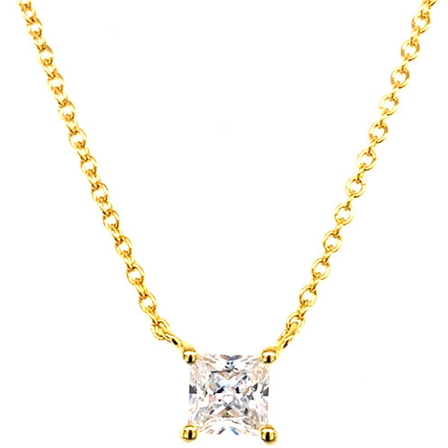 Bitter Sweet Gold Plated Sterling Silver Princess Cut Cubic Zirconia Necklace 143477