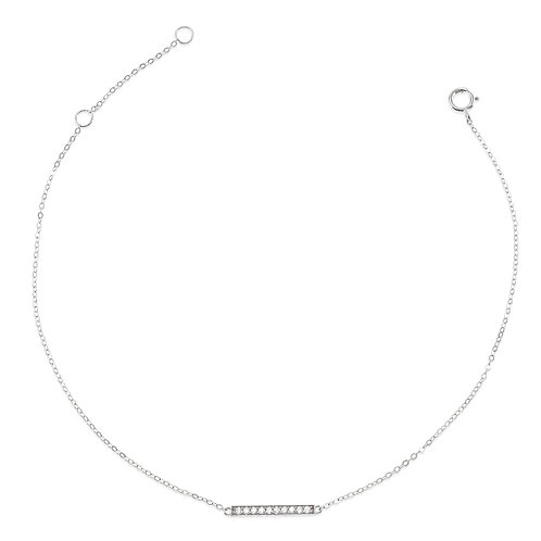Bitter Sweet Gold Plated Sterling Silver Cubic Zirconia Pave Anklet 143325