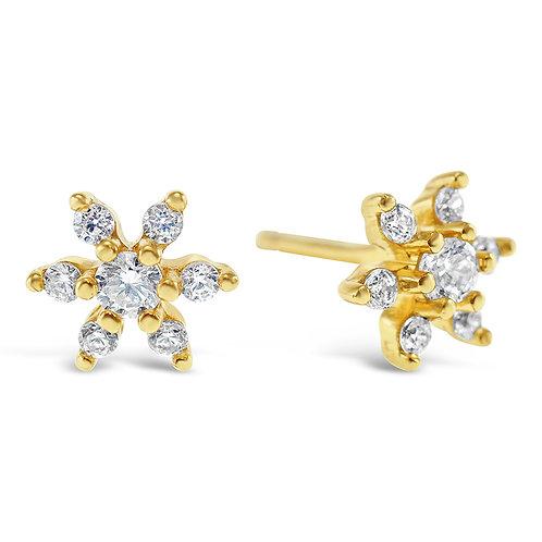 Bitter Sweet Gold Plated Sterling Silver Cubic Zirconia Flower Earrings 141768