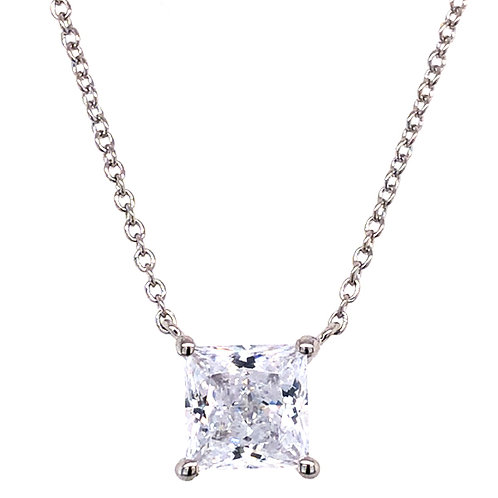 Bitter Sweet Sterling Silver Cubic Zirconia Princess Cut Necklace 143478