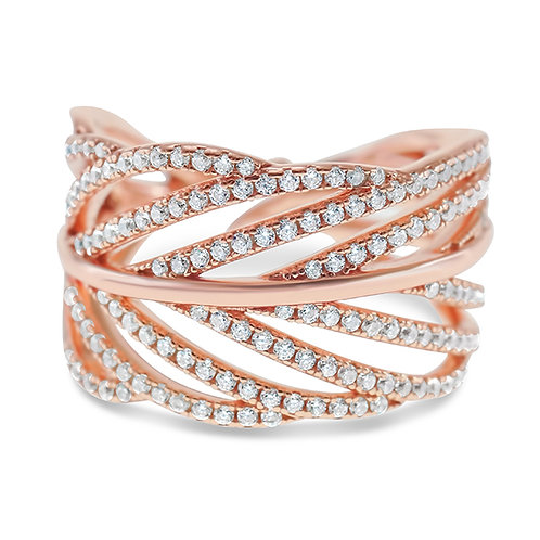 Bitter Sweet Rosegold Plated Sterling Silver Cubic Zirconia Ring 143217