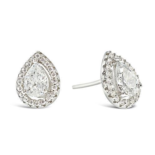 Sterling Silver Cubic Zirconia Tear Drop Earrings 140111