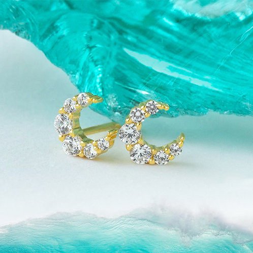 Yellow Gold Plated Sterling Silver Cubic Zirconia Earrings 139413