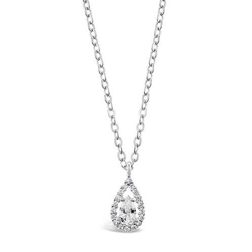Bitter Sweet Sterling Silver Cubic Zirconia Tear Drop Necklace 141804