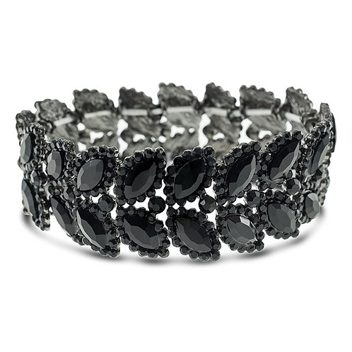 Fashion Black Crystal Elastic Leaf Bracelet 140971