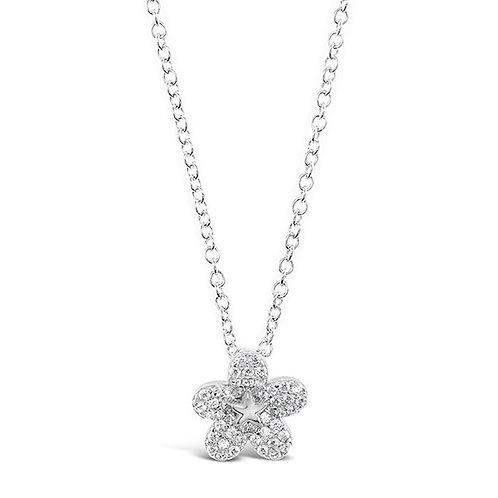 Bitter Sweet Sterling Silver Cubic Zirconia Flower Necklace 141802