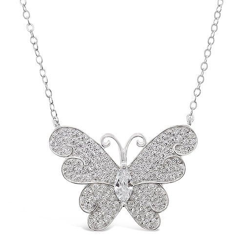 Bitter Sweet Sterling Silver Cubic Zirconia Butterfly Necklace 143002