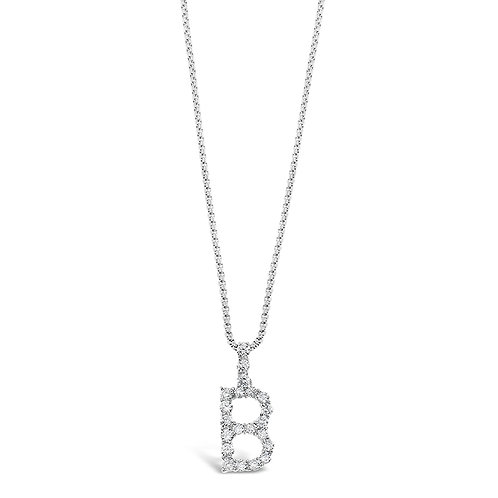 Bitter Sweet Jewelery Stainless Steel Cubic Zirconia Initial B Necklace 142310