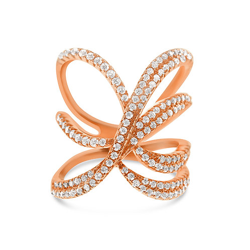 Bitter Sweet Rosegold Plated Sterling Silver Cubic Zirconia Ring 128075