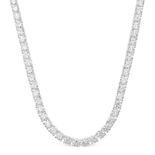 "Bitter Sweet Jewellery Sterling Silver Round Cubic Zirconia Tennis 18"" Necklace 143376"
