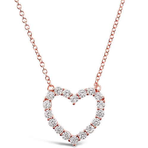 Bitter Sweet Rosegold Plated Sterling Silver Cubic Zirconia Heart Necklace 141799