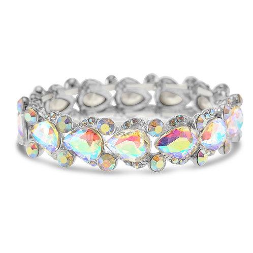 Silver Crystal Tear Drop Bracelet