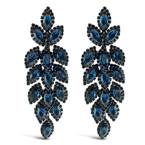 Fashion Anita Blue Crystal Leaf Drop Earrings 141002
