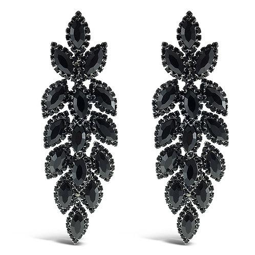 Fashion Black Crystal Leaf Drop Earrings 140980