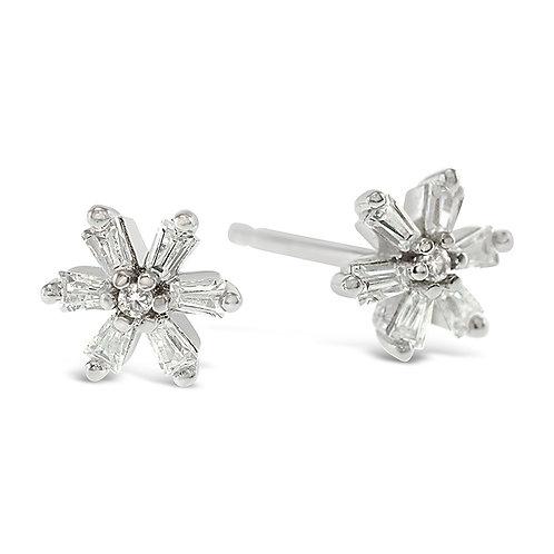 Sterling Silver Cubic Zirconia Flower Earrings 141757