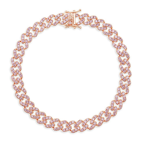 """Bitter Sweet Cubic Zirconia Cuban Link 9"""" Inches Anklet 143075"""