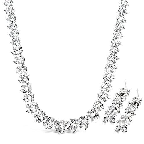 Bitter Sweet Bridal Silver Cubic Zirconia Necklace & Earrings Set 143594