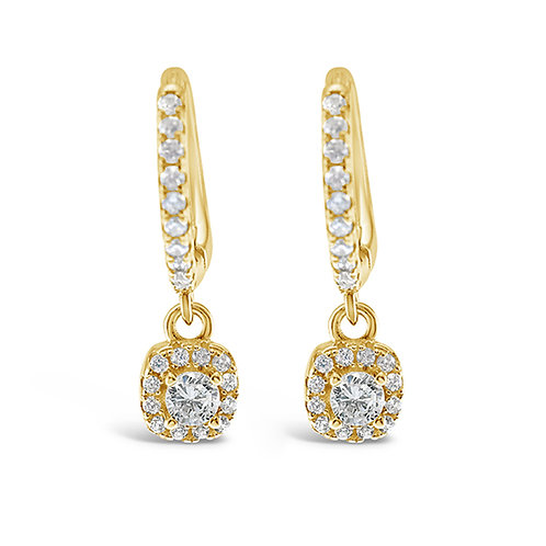 Gold Plated Sterling Silver Cubic Zirconia Huggie Earrings 142501