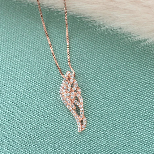 Bitter Sweet Rose Gold Plated Sterling Silver Cubic Zirconia Necklace 141375