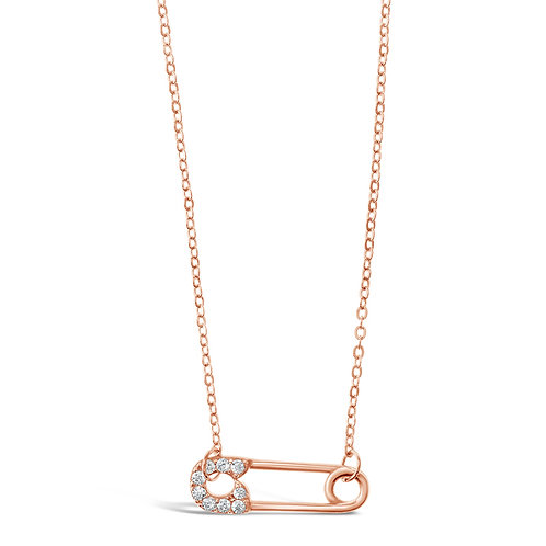 Rose Gold Plated Sterling Silver Cubic Zirconia Necklace