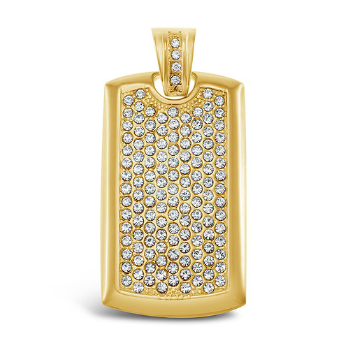 Bitter Sweet Jewellery Stainless Steel Gold Crystal Tag Pendant 142534