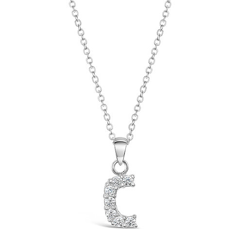 Sterling Silver Cubic Zirconia Initial C Necklace
