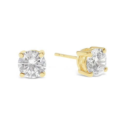 Bitter Sweet Gold Plated Sterling Silver Cubic Zirconia 8 Hearts 8 Arrows 7mm Studs 143346