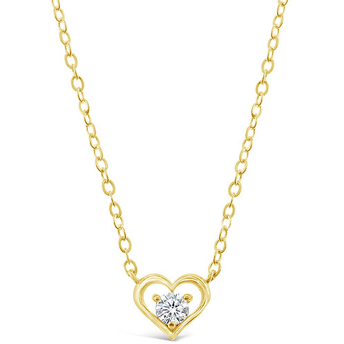 Bitter Sweet Gold Plated Sterling Silver Cubic Zirconia Heart Necklace 143401