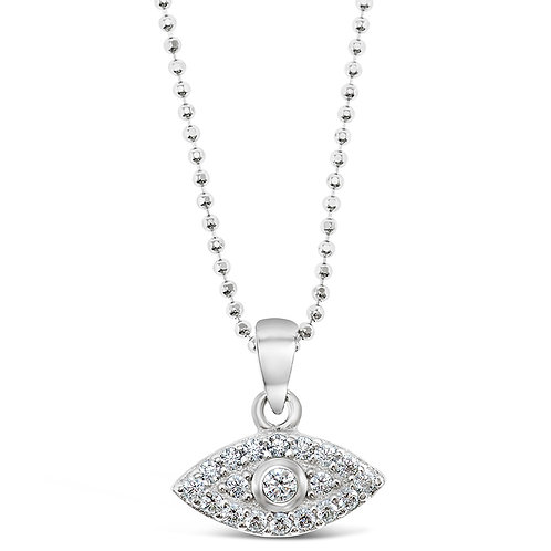 Bitter Sweet Sterling Silver Cubic Zirconia Evil Eye Necklace 128053