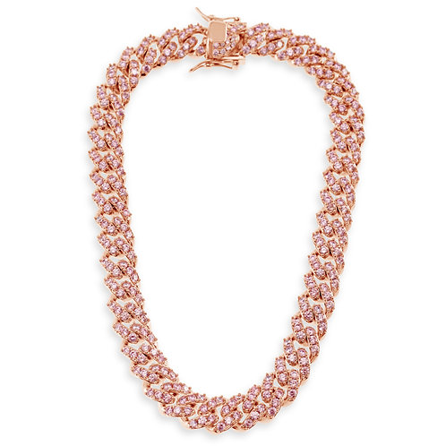 Costume Cubic Zirconia Rose Gold Plated Miami Cuban Link Necklace 142288