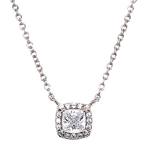 Bitter Sweet Sterling Silver Cubic Zirconia Square Outline Necklace 143471