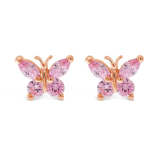 Bitter Sweet Rosegold Plated Sterling Silver Cubic Zirconia Butterfly Earrings 143356