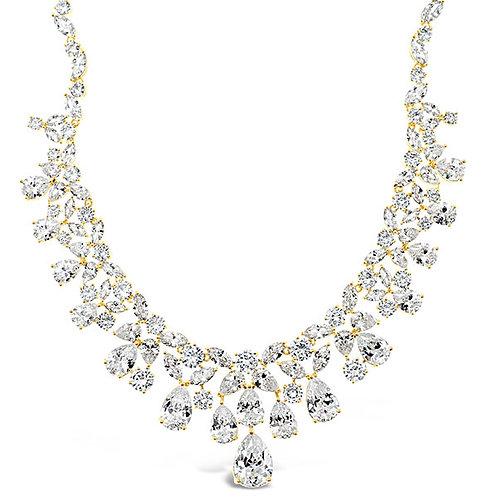 Bitter Sweet Bridal Gold Cubic Zirconia Necklace 143596