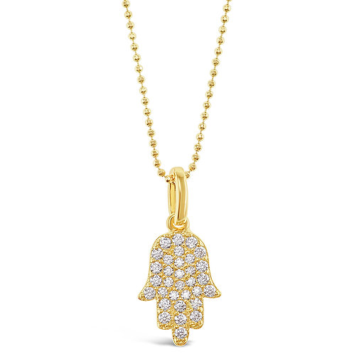 Bitter Sweet Gold Plated Sterling Silver Cubic Zirconia Hamsa Necklace 128057