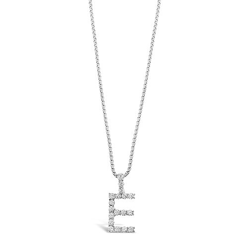 Bitter Sweet Jewelery Stainless Steel Cubic Zirconia Initial E Necklace 142313