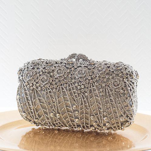 Silver Rose Crystal Clutch 141023