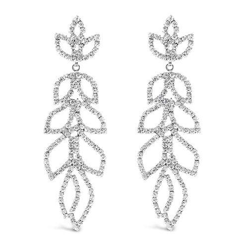 Fashion Silver Rhinestones Long Drops Earrings 142176