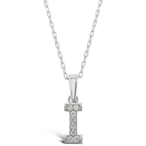 Bitter Sweet Sterling Silver Cubic Zirconia Initial I Necklace 135925