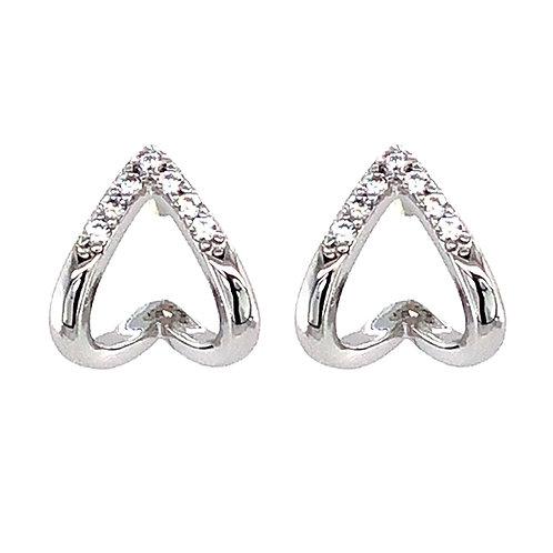Bitter Sweet Sterling Silver Cubic Zirconia V 2Lines Stud Earrings 143550