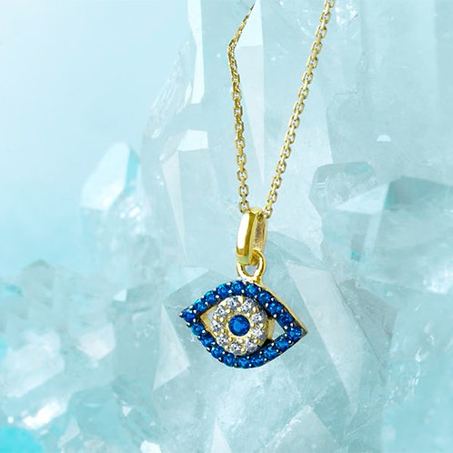 Yellow Gold Plated Sterling Silver Cubic Zirconia Necklace