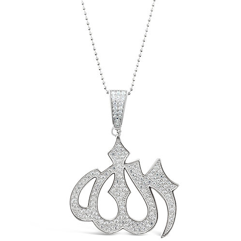 Bitter Sweet Sterling Silver Cubic Zirconia Allah Necklace 143384