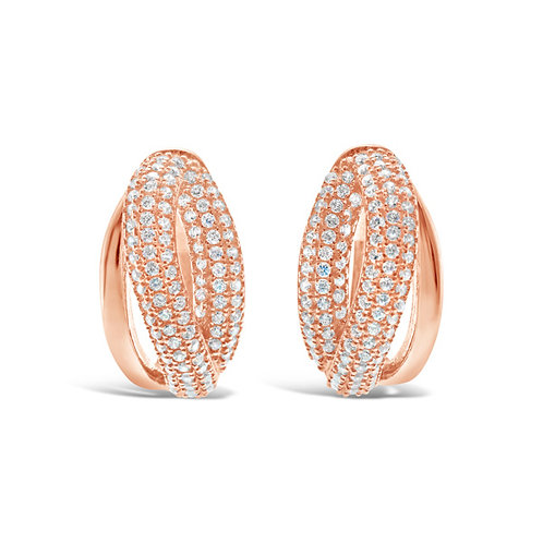 Rose Gold Plated Sterling Silver Cubic Zirconia Earrings 132700